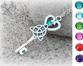 Triquetra Necklace / Trinity Knot Necklace / Celtic Trinity Knot / Irish Trinity Knot / Heart Key Necklace / Key to my Heart Necklace