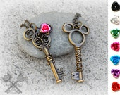 Mickey Mouse and Minnie Mouse / Couples Necklace Set / Best Friends Necklace / Couple Necklaces / Gifts for Couples / Fantasy Key Necklace