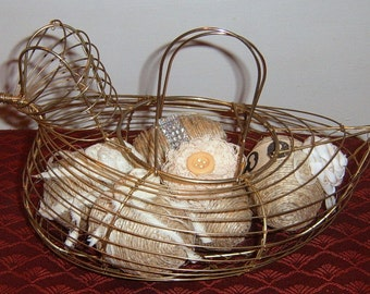 40% Off,  Vintage,Wire Chicken Basket,Jute, Eggs,  Country Kitchen, Country Decor, Covered Eggs, Fabric Roses, Crochet Doily, Farmhouse,