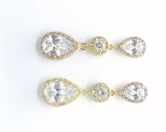Bridal Earrings Yellow Gold LARGE Clear Peardrop Cubic Zirconia Halo Round CZ Drop Peardrop Cubic Zirconia Post Wedding Earrings