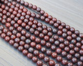 Red Brecciated Jasper Beads -  8mm Round Smooth - 16 inch Full Strand