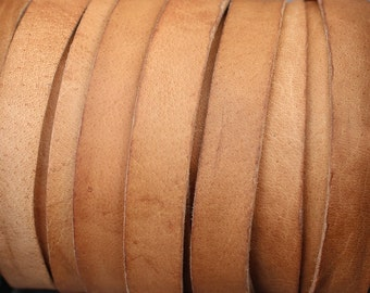 10mm Flat Leather Strap - Distressed Light Brown