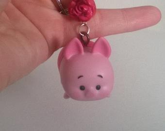 Piglet Winnie the Pooh Tsum Tsum Pom Pom Keychain Pig Pink Gift Ooak Small Figurine Toy Cute Bag Charm