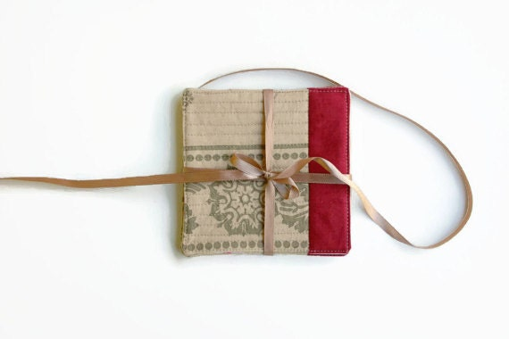 Fabric Coasters Lumiere de Noel  - Set of 4 - Quilted Coasters - Hostess Gift, Housewarming, Holiday Gift Cloth Coasters