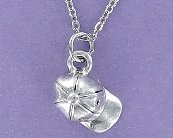 BASEBALL CAP Necklace - Pewter Charm on a FREE Plated Chain
