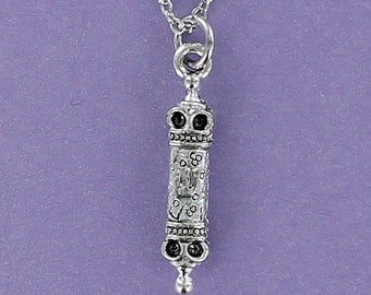 Mezuzah Necklace - Pewter Charm on a FREE Plated Chain Blessing Torah