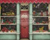 7ft x 6ft Vinyl Photography Backdrop / Custom Photography Prop / Christmas Toy Store / Santas Workshop