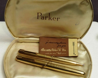 "Parker ""51"" SIGNET Fountain Pen/Pencil Set - 14k Gold Filled Cap & Barrel w/ Original Box"
