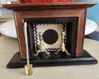 C101)  Vintage Dollhouse Wood Fireplace  with Mantle