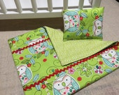 """Green Owl 18"""" Doll Blanket with Pillow"""