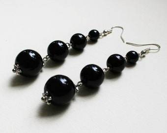 Long black earrings, elegant earrings, drop earrings, black bead earrings, clasic earrings, Sterling silver