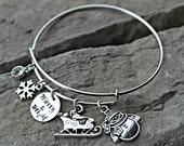 Christmas Bracelet  - Snowman Bracelet - Santa Bracelet - Snowflake Bracelet - Christmas Jewelry -  Christmas Gift for Her - Christmas Charm