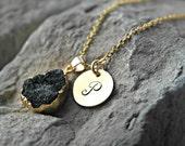 Druzy Necklace - Druzy Charm - Custom Charm Necklace - Initial Necklace - Christmas Gift Ideas - Personalized Charm Necklace