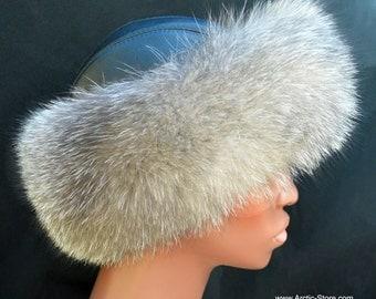 Russian Women's Roller Hat BLACK Leather Top Grey FOX Fur Women RH4 Arctic Store®