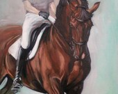 "Original oil on board equine dressage horse oil painting sketch 'Grace' 14 x 18"" by H Irvine"