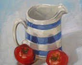 "Original oil on board daily painting still life tomatoes oil painting sketch 10"" x 12"" by H Irvine"
