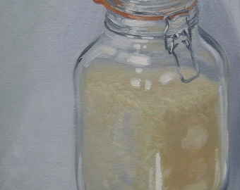 "Original oil on board impressionism art daily painting still life kilner jar oil painting sketch 10"" x 12"" by H Irvine"