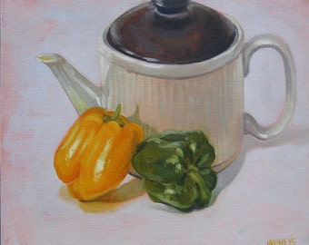 "Original oil on board daily painting still life peppers capsicum oil painting sketch 10"" x 12"" by H Irvine"
