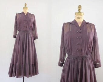 Vintage 1950s Monaria Dress / 50s sheer 3/4 sleeve full skirt dress/ Medium M