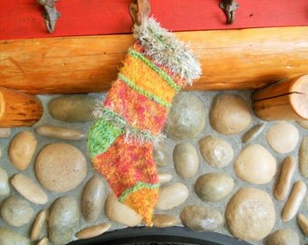Multi Colored Mohair Blend Christmas Holiday Stocking