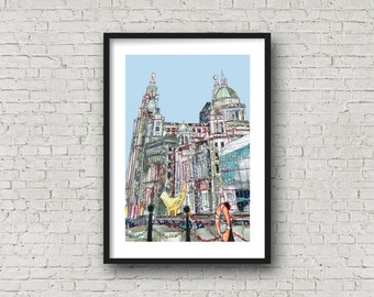 Liverpool Waterfront - 3 Graces - Lambanana - PRINT