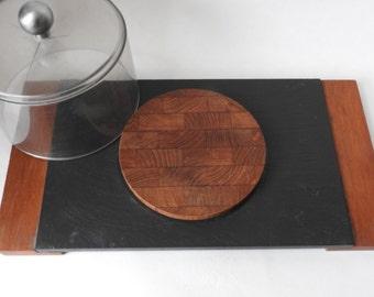 Vintage Danish Modern Teak and Slate Cheese Board