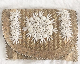 Vintage summer clutch with bamboo, raffia, and shells