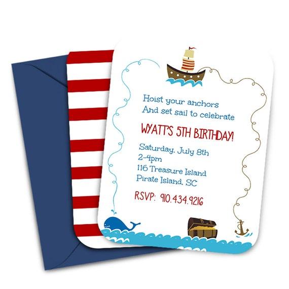 Pirate Party Invitations Digital File Pirate Birthday Party Invitation Printable Invitation Pirate Invitation Boys Pirate Birthday Party