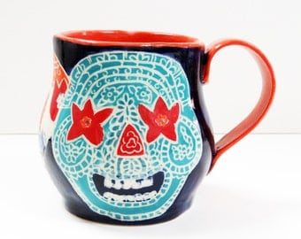 Art Pottery SUGAR SKULL Mug Sgraffito, Colorful Day of the Dead Mug, Carved Ceramic Design Functional Art, Mexican Inspired,Folk Art Pottery