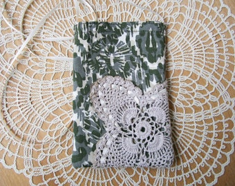 Olive & Cream CELLPHONE POUCH Stained Doily Woven Ribbon Camo Neck Bag Android IPhone Pocket - Ships free in US