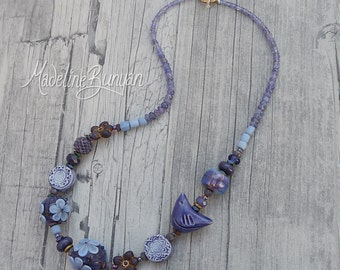 Lavender Daydream Necklace with Birds, lampwork, tanzantite, artisan ceramic, sterling silver