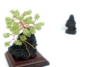Windswept Wire Sculpture Gemstone Peridot Bonsai Canary Island Pine Tree on Lanzarote Volcanic Lava Stone, with Wooden Base