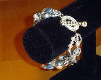 Pearl crystal glass bracelet earrings set, gift for her, best friend gift
