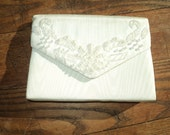 Vintage White Silk Formal Evening Shoulder Bag with wonderful white beaded lace looking design on envelope style opening in Mint Condition