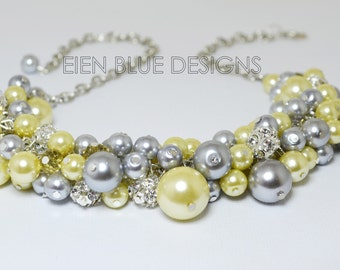 Pearl Necklace, Gray and Yellow Cluster Necklace, Gray Bridal Necklace, Wedding Jewelry, Pearl Cluster Necklace, Gray and Yellow Jewelry.
