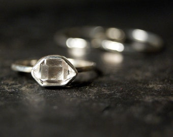 Sideways Clear Herkimer Diamond Ring in Polished Sterling Silver - Set of 3