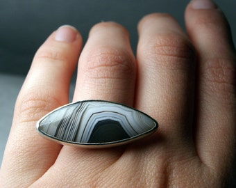 Botswana Agate Ring in Sterling Silver