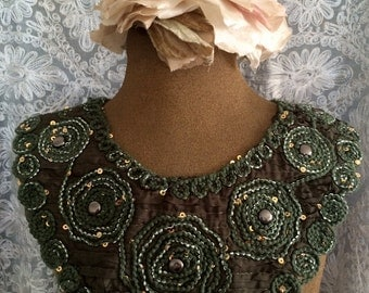 Forest Green Braided Beaded Applique
