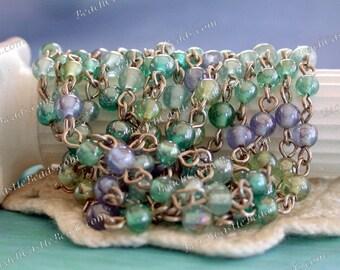 Rosary Chain, Beaded Chain, Chain, Bead Chain, Jewelry Chain, Glass Bead Chain CHN-083