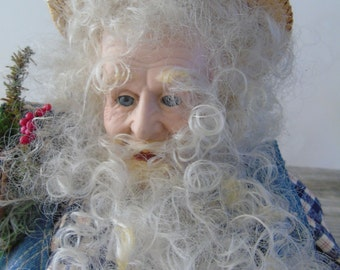 Folk Art Santa Doll Hillbilly Redneck Country Farm Christmas Large Handmade Bisque Face Denim Jean Suit Large 25 inch Dude