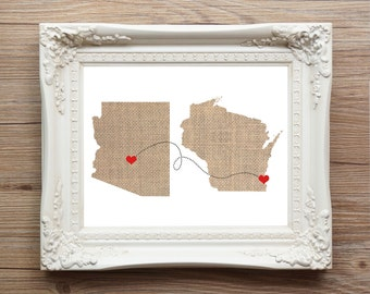As seen on CountryLiving.com Two States Love Wedding Gift  Personalized State Natural Series - Custom Location Modern Art Print  Distance