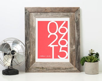 Wedding Date - Large Anniversary Art - Personalized - Custom Date - Modern Print Wedding Date Sign Husband Wife First