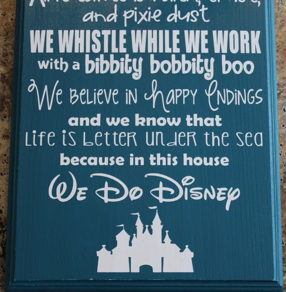 In This House We Do Disney Hand Painted Sign Disney Sign
