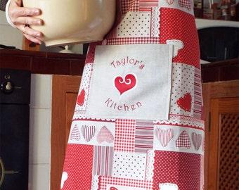 Apron - Hostess Gift -  Hostess Apron - Hearts- Full Apron, Hearts apron Hostess Wedding Gift