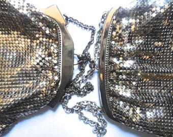 SALE Wedding Purses, Vintage Whiting and Davis Mesh Purses, Gold Handbag, Prom Bag,Bridesmaids,Flower Girls,Downton Abbey,Vintage Gold Purse