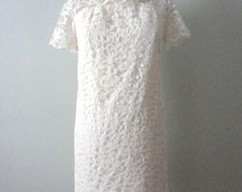 Short Wedding Dress, Vintage Lace Mini Dress, 1960s Mod Dress, Retro Minidress, White Lace Short Dress,Vintage White Dress,Hipster Reception