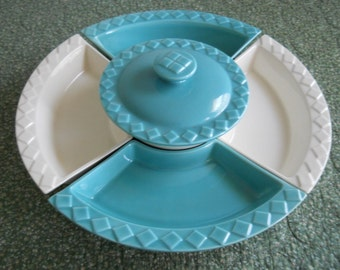 Hoenig of California Snack Relish Chip Dip 7 pc set w/ lid and Lazy Susan