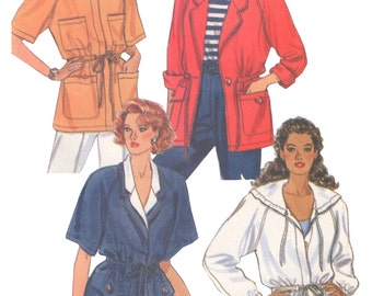 Butterick 5389 Vintage 1990s Sewing Pattern Sizes 6/8/10 Easy Jacket Loose Unlined Hip Length Drawstring Waist Long Short Sleeve
