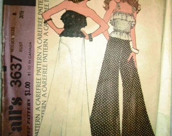 1973 McCalls Ladies Strapless Top, Skirt, Flaired Leg Pant PATTERN