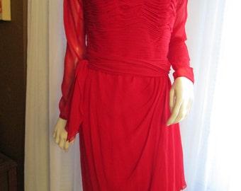 1980's Ladies Red Silk Sassy Dress by OSCAR De La RENTA